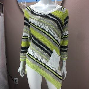 Adore Asymmetrical Sweater Metallic Open Knit